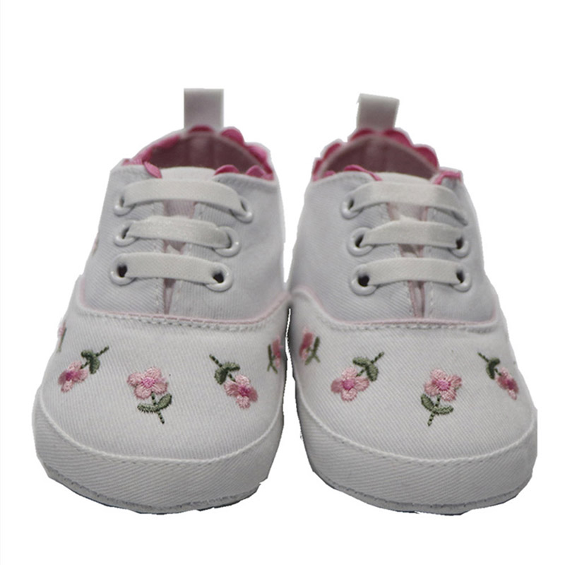 Baby Shoes Infant Toddler Girls Flower Embroidery Slip-on Pre Walker Shoes AN88