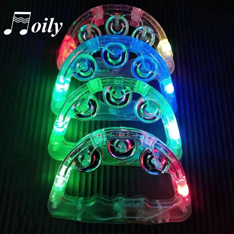 Hand Held Flashing Tambourine Led lights Party Bar Bell Toy Rattle Kid Luminous Children Tambourine Music Instruments No Battery(China)