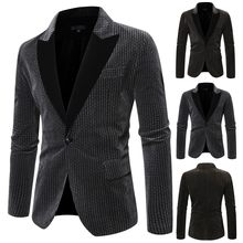 Men's Stylish Casual Patchwork Business Wedding Party Outwear Coat Suit TopsAutumn Winter boy jobs work trendy style Dropshippin(China)