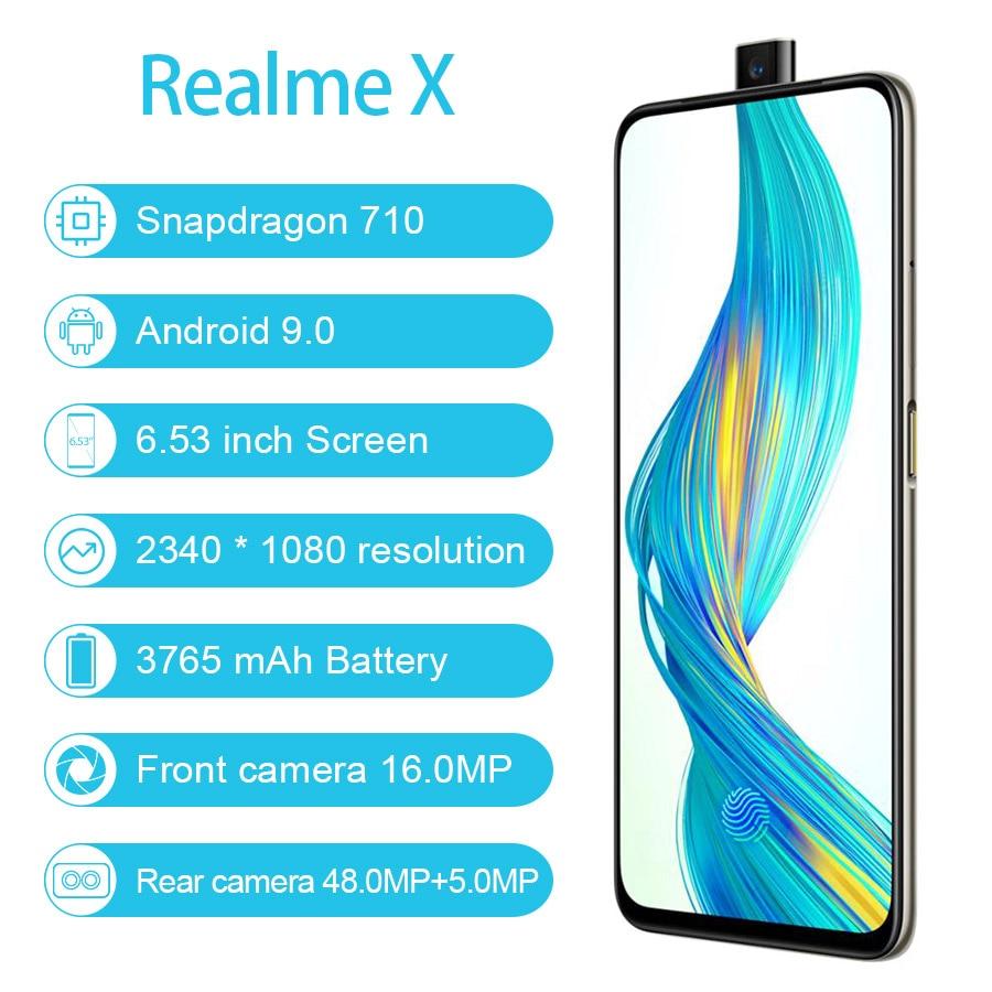 "CN Version Realme X 4G LTE Snapdragon 710 Android 9.0 6.53"" 2340X1080 4GB/64GB 48.0MP Fingerprint Mobile Phone"