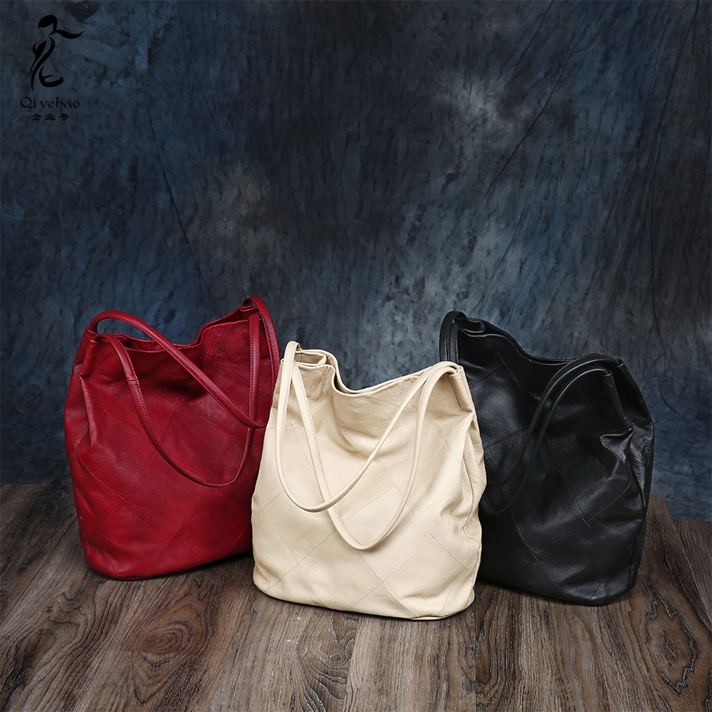 Women Genuine Leather  Shoulder Bag Bucket Bag Simple Simple Large Capacity Tote Bag