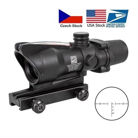 caca riflescope acog 4x32 real fibra optica ponto vermelho iluminado chevron vidro gravado reticulo tatico
