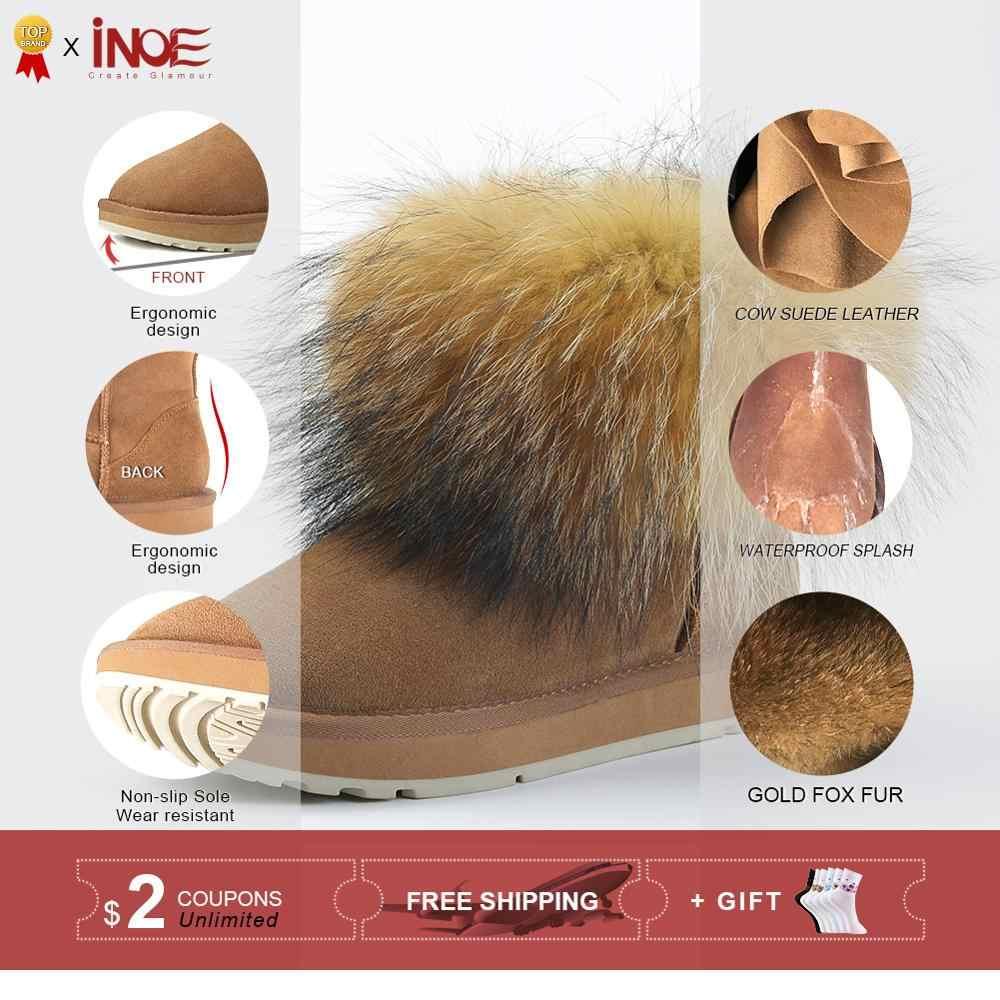 INOE moda kızlar inek süet deri tilki kürk kadın kısa kış botları kadın ayak bileği kar botları tutmak sıcak ayakkabı siyah kahverengi