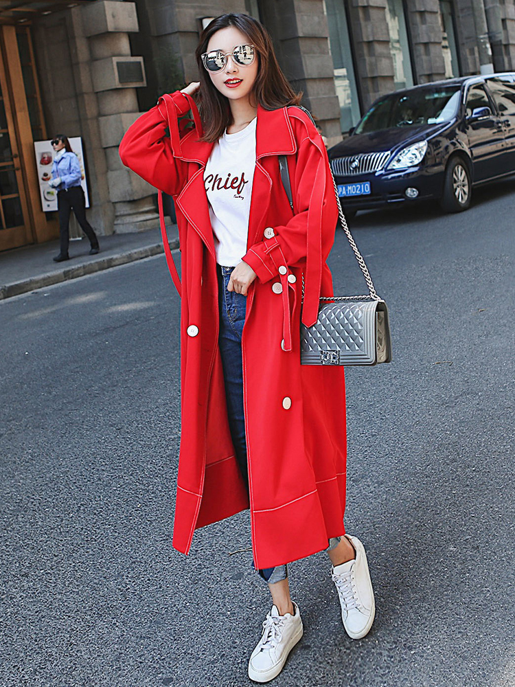 2019 Brand Fashion Women   Trench   Coat Red Long Double Breasted Pockets Spring Autumn Lady Casual Coat Outerwear Quality