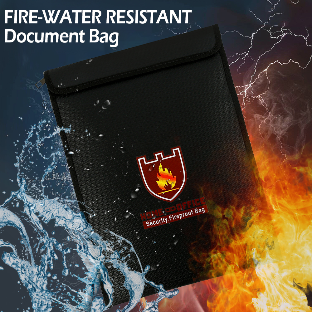 Portable Fireproof Water Resistant Document Bag Large Capacity Money File Folder Valuables Organizer Storage For Home Office