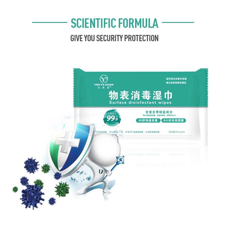10pcs/set Wet Wipes Antibacterial Disinfection Skin Cleaning Care Quaternary Ammonium Salt Table Of Things Wet Wipes TSLM1