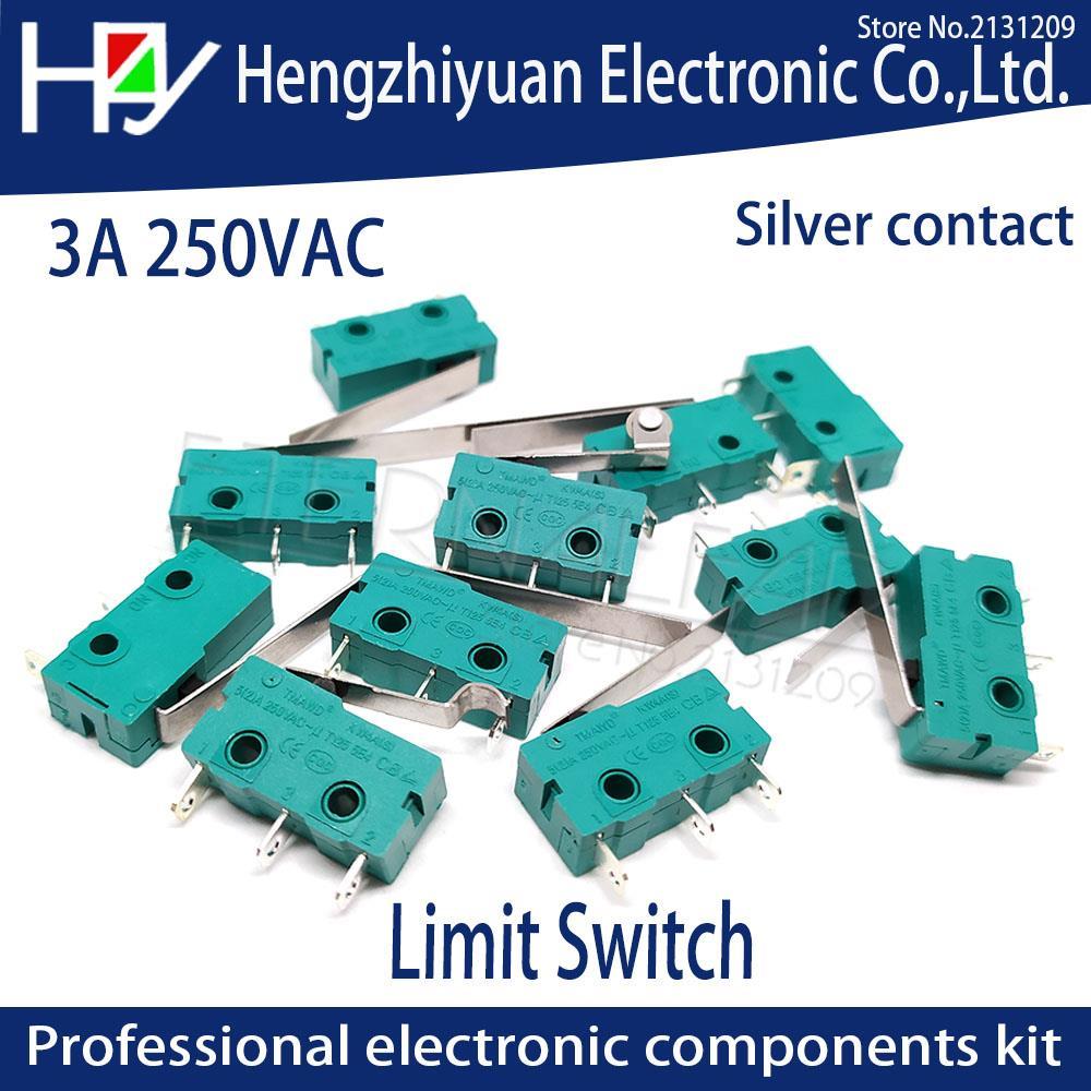 Hzy Mini  Micro Switch Roller Lever Arm SPDT Snap Action LOT 5A 250V KW4-OZ KW4A NC-NO-C With Pulley 3 Feet Stroke Limit Switch