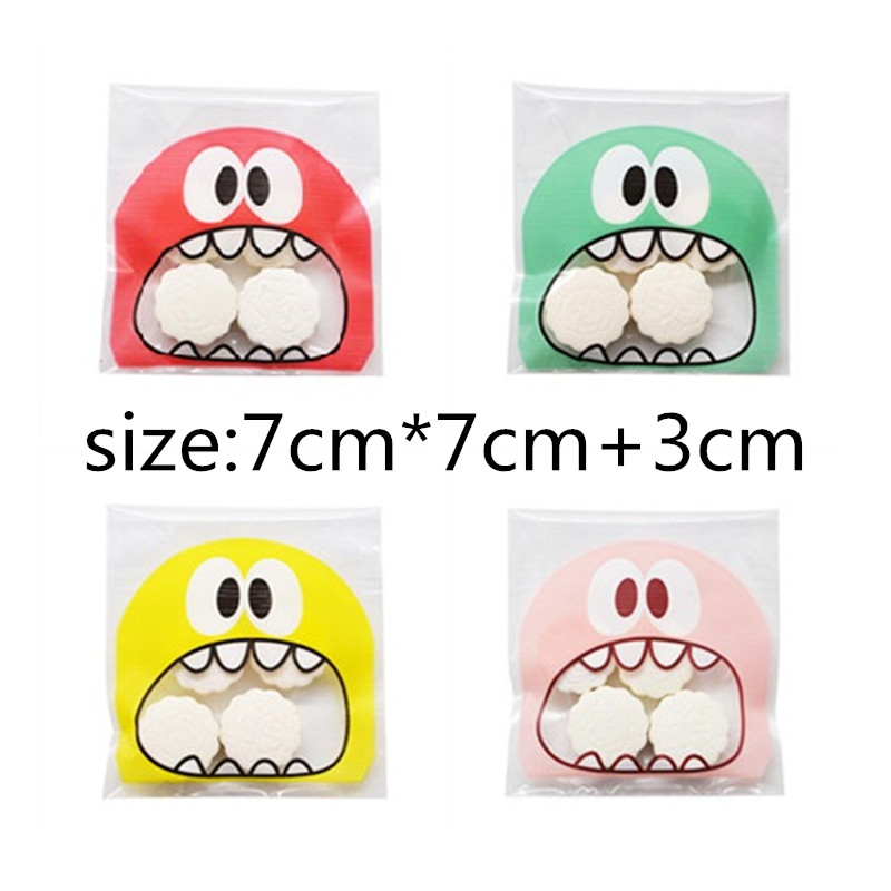 50pcs/100pcs Cute Self Adhesive Cellophane OPP Big Mouth Monster Plastic Bags Candy Cookie Gift Bag Wedding Birthday Party Favor