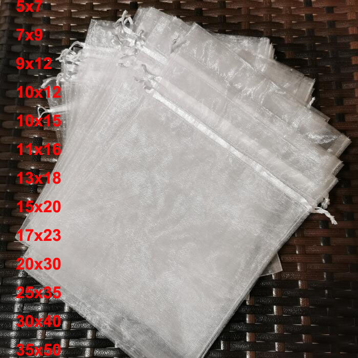 100 шт./лот, 5x7, 9x12, 17x23, 25x35, 30x40 см, большие белые сумки из органзы, мешочек на шнурке для ювелирных украшений, свадебный подарок, Упаковочная Сум...
