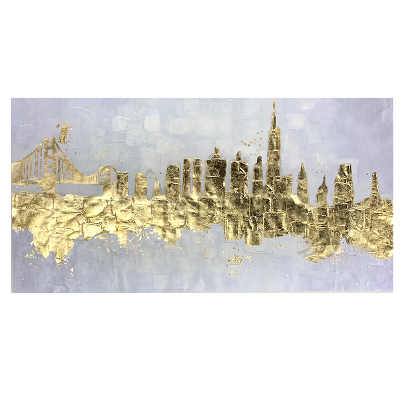 100% Hand Painted Abstract Golden Art Oil Painting On Canvas Wall Art Wall Adornment Pictures Painting For Live Room Home Decor