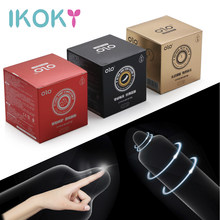 IKOKY 10 unids/set Ultra delgada, Juguetes sexuales para hombres lubricado preservativos para adultos productos demora la eyaculación de látex Natural