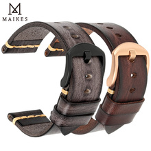 MAIKES Handmade Watch Band Cow Leather Watch Strap Vintage Watchband With Stainless Steel buckle For Panerai Omega SEIKO CITIZEN