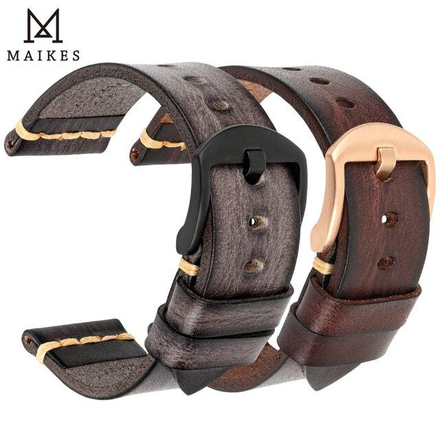 MAIKES ręcznie robiony pasek do zegarków pasek ze skóry bydlęcej Vintage pasek do zegarków ze stali nierdzewnej stalowa klamra do Panerai Omega SEIKO CITIZEN