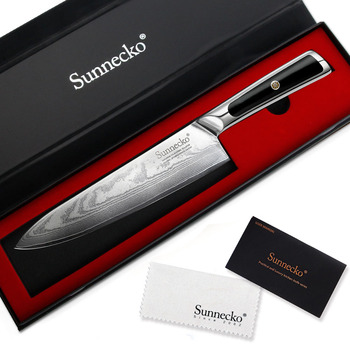 SUNNECKO 8 inch Chef Knife Damascus Steel Kitchen Knives Japanese VG10 Core Blade G10 Handle Sharp Meat Fruit Cutter Chef Knife