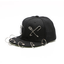 Punk Style Black Parent-child Hip Hop Hats Trend Pin Rivet Tassel Baseball Caps for Men Women Street Fashion Show Casual Hats(China)