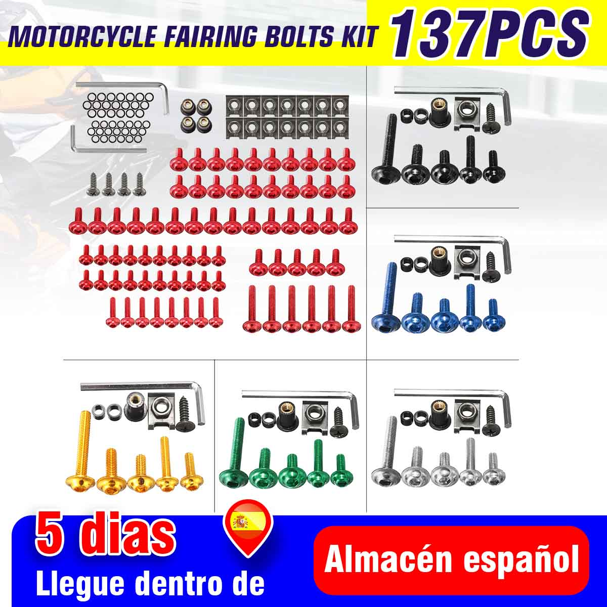 137pcs Universal Motorcycle Fairing Body Bolts Kit Fastener Clips Screw Nuts For Kawasaki /Suzuki /Honda /Yamaha /KTM /BMW