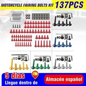 Набор универсальных болтов для мотоцикла 137 шт., Комплект болтов для обтекателя корпуса, крепежные зажимы, гайки для Kawasaki /Suzuki /Honda /Yamaha /KTM /BMW