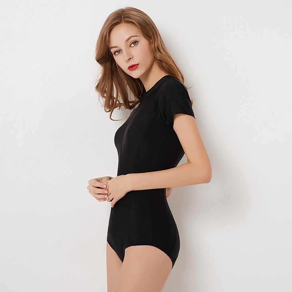 قصيرة الأكمام النساء الصلبة ملابس السباحة سستة قطعة واحدة ملابس السباحة عالية الرقبة بدلة لركوب الأمواج الأسود الغوص ارتداءها بحر دروبشيبينغ 829