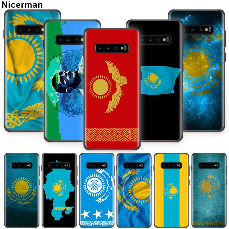 <font><b>Kazakhstan</b></font> Flag <font><b>Case</b></font> for Samsung Galaxy S10 S8 S9 S7 Plus S10e Note 10 9 8 10Plus 5G Black Silicone Phone Coque Fall image