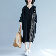 Plus Size Striped Print Maxi Dress for Women Boho Black V-neck Loose Dress Casual Elegant National Holiday Party Dress Vestidos black leaf print v neck maxi dress