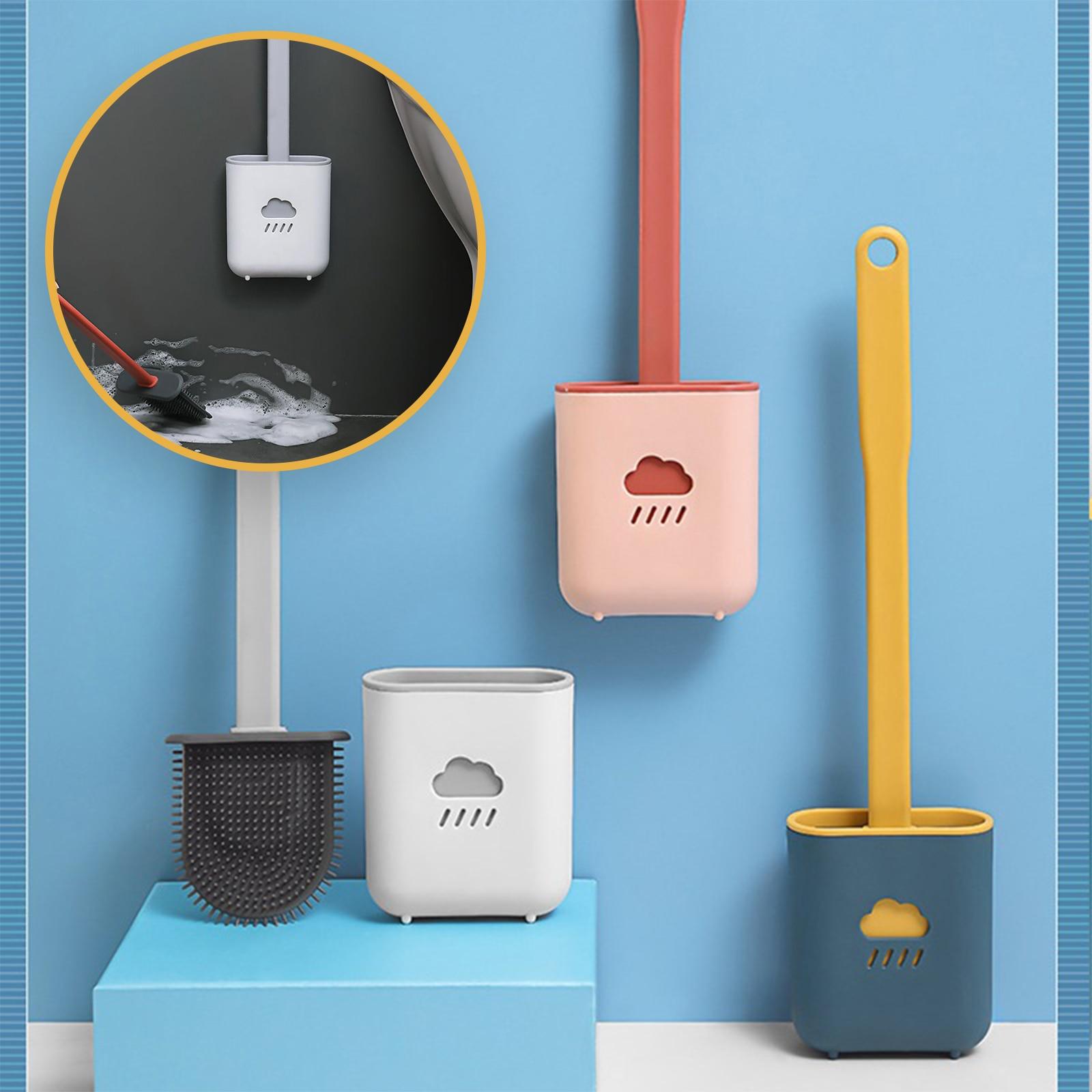 Toilet Brush Wc Gap Brush with Holder Silicone Toilet Brush Hanging Type Flat Head Flexible Bristles Brush Bathroom Accessories