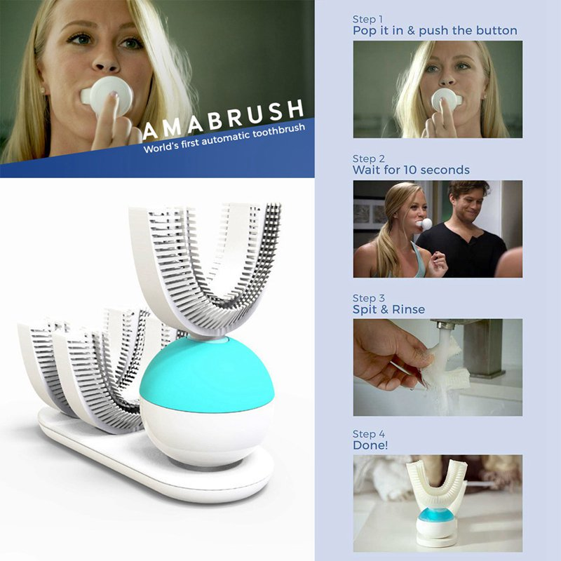 Top Deals 360 degree automatic intelligent packaged lazy toothbrush electric rapid cleaning sonic whitening rechargeable toothbr image