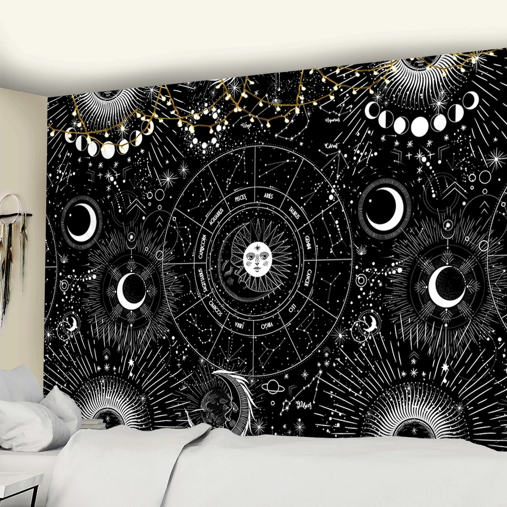 Sun Moon Mandala Starry Sky Tapestry White Black Wall Hanging Bohemian Gypsy Psychedelic Tapiz Witchcraft Astrology Tapestry