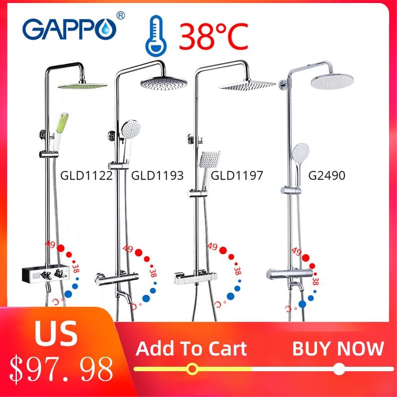 Gappo termostática torneira do chuveiro chrome cor banheiro banho chuveiro mixer definir cachoeira cabeça de chuveiro chuva torneira da banheira torneiras
