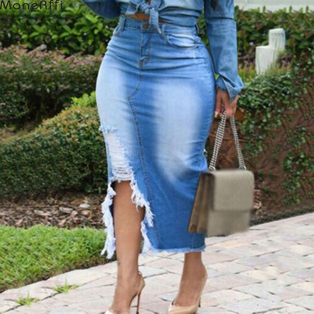 Women Skirts High Waist Washed Denim Jeans Skirt Ladies Bandage Split Long Skirt Plus Women Blue Slit Mid Waist Casual Skirt