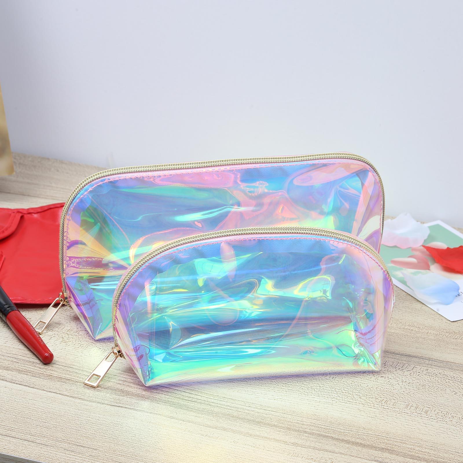 Женская Лазерная косметичка, прозрачный водонепроницаемый Органайзер из ПВХ для хранения косметики, канцелярские принадлежности, чехол дл...
