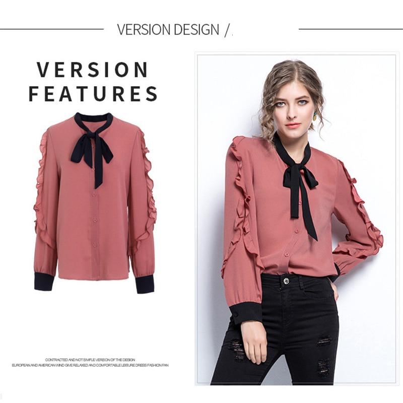 XHKLD chiffon shirt Ruffles Pink Patchwork Tops plus size Blouse Women clothes Fashion 2020 Summer Autumn long sleeve shirts 5XL