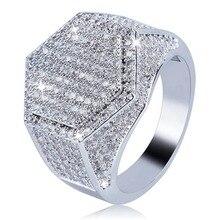 Milangirl мужское кольцо в стиле хип-хоп со льдом Высокое качество микро проложить CZ кольцо на палец Квадратные Кольца для мужчин ювелирные изде...