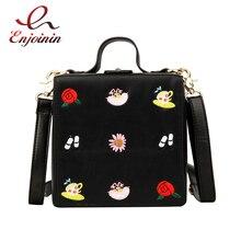 수 놓은 만화 패턴 앨리스 박스 스타일 Pu 여성 지갑과 핸드백 숄더 가방 캐주얼 Crossbody 가방 트렌드 핸드 가방