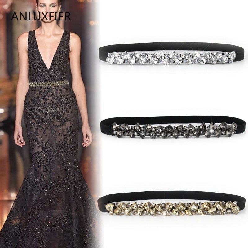 J102 Lady Decorative Skirt Belt Women's Rhinestone Waistbelt Inlaid Belt Girls Elastic Crystal Waistband Belts Women Chain Belt