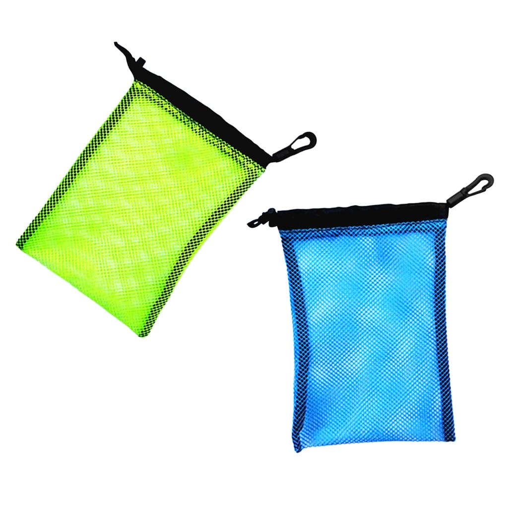 Blue+Yellow Dive Swimming Drawstring Mesh Bag For Diving Scuba Snorkelling
