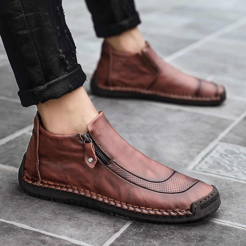 Мужские зимние ботинки мужские кожаные ботильоны высокого качества Теплая мужская обувь на меху Осенняя Классическая обувь для вождения на молнии с плюшевой подкладкой Большие размеры