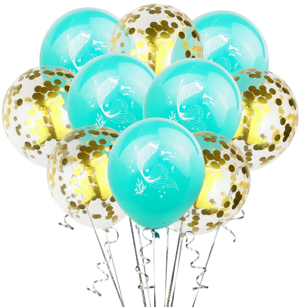 10pcs 12inch Mermaid Balloons Little Mermaid Party Supplies Happy Birthday Party Decoration Kids Baby Shower Supplies Ballon in Ballons Accessories from Home Garden