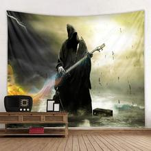 Halloween tapestry, black robe musician, Pumpkin Castle polyester tapestry все цены
