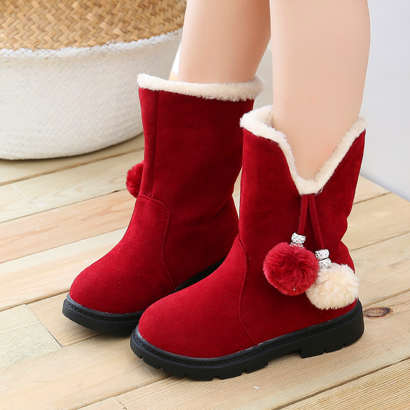 Felt Boots 2019 New Autumn Winter Girls Boots Children's Toddler Kids Warm Red Princess Snow Boot Baby Christmas Shoes Gril