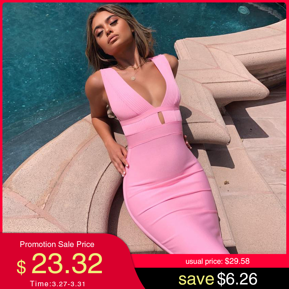ADYCE 2020 New Summer Pink Bandage Dress Women Sexy Hollow Out Deep V Tank Backless Club Dress Hot Celebrity Evening Party Dress