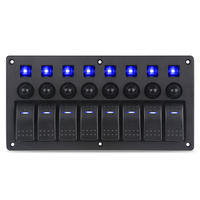 Waterproof 5pin 8 Gang On Off Marine Car Panel Switch With Breakers Led Boat Switch Panels 12v AC 125V/10A 12V/20A 24V/10A