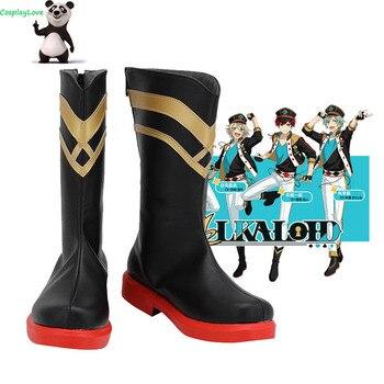 ¡Conjunto de estrellas! Zapatos negros ALKALOID Amagi Hiiro para Cosplay Botas Largas de cuero hechos a medida para Halloween
