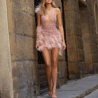 Sexy Pearl Pink Feather Short Cocktail Party Dresses Luxury Beaded Crystal Mini Prom Gowns Deep V neck Formal Dress