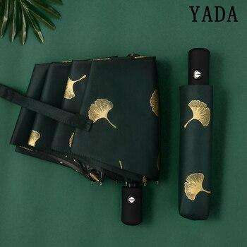 YADA Fashion Ginkgo Biloba Automatic Umbrellas Windproof Folding Rainy Leaves For Women parasol UV Leaf Paraguas YD213
