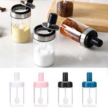 Стеклянные контейнеры для специй банка для приправ с ложкой масло мед соль и перец дозатор бутылки кухонные аксессуары