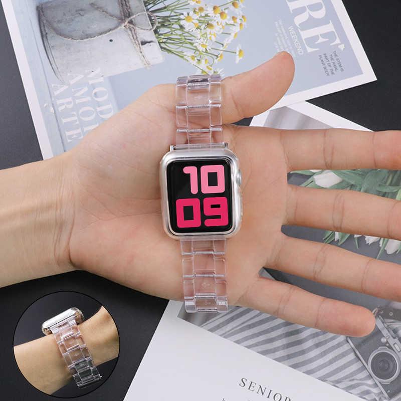 Новый спортивный ремешок для Apple Watch Series 6 SE 5 4 3 прозрачная смола для Iwatch ремешок 38/42 мм 40/44 мм для apple watch аксессуары