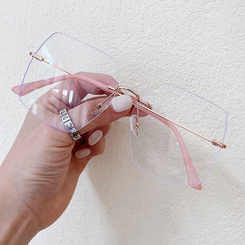 Очки женские без оправы, винтажные ультралегкие квадратные компьютерные очки без оправы, из сплава, с принтом, с защитой от синего света, большие размеры