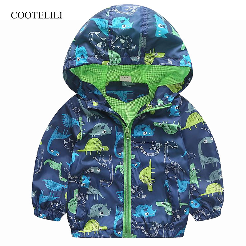COOTELILI 80-120cm Spring Autumn Dinosaur Windbreaker Kids Jacket Boys Outerwear Coat Hooded Baby Clothing For Boys