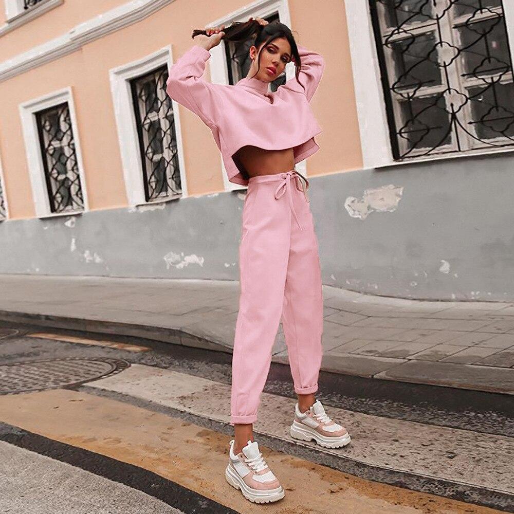 Image 3 - Women Black Loose Tracksuit Crop Top Harem Pants Matching Suit  Fashion Autumn Casual Female Long Sleeve Sweatshirt 2 Piece SetWomens  Sets