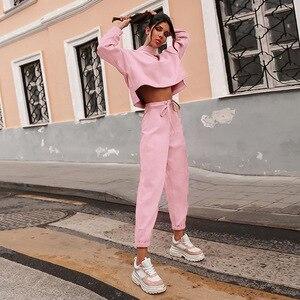 Image 3 - Women Black Loose Tracksuit Crop Top Harem Pants Matching Suit Fashion Autumn Casual Female Long Sleeve Sweatshirt 2 Piece Set